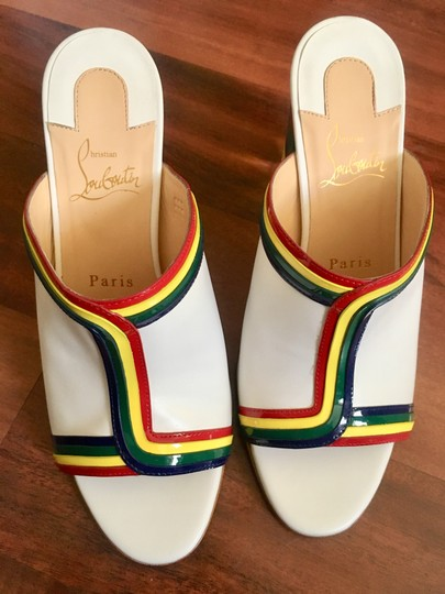 Christian Louboutin Stripe Rainbow Colorful Color-blocking Transparent white Mules Image 3