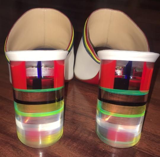 Christian Louboutin Stripe Rainbow Colorful Color-blocking Transparent white Mules Image 5