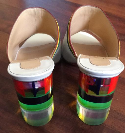 Christian Louboutin Stripe Rainbow Colorful Color-blocking Transparent white Mules Image 9