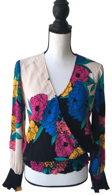 Preload https://img-static.tradesy.com/item/25839350/plenty-by-tracy-reese-black-pink-yellow-and-blue-floral-small-blouse-size-4-s-0-1-650-650.jpg