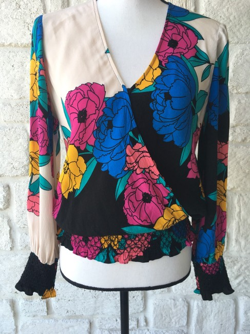 Plenty by Tracy Reese Top Black,Pink,Yellow,&Blue Image 3