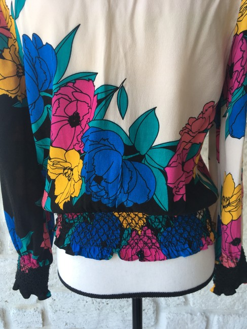 Plenty by Tracy Reese Top Black,Pink,Yellow,&Blue Image 5