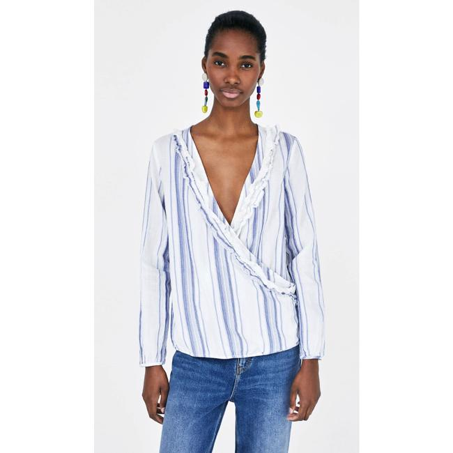 Zara Raw Hem Peasant Top Blue Image 1