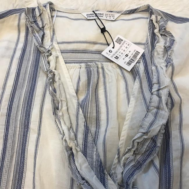 Zara Raw Hem Peasant Top Blue Image 5