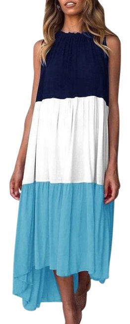 Item - Blue Color Block.. Blues... High Long Casual Maxi Dress Size 10 (M)