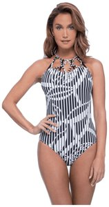Profile by Gottex Slimming one piece BLACK & WHITE BAMBOO PATTERN