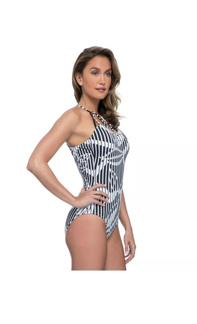 Profile by Gottex Slimming one piece BLACK & WHITE BAMBOO PATTERN Image 1