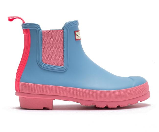 Item - Blue Pink Colorblock Chelsea Rain Boots/Booties Size US 8 Regular (M, B)