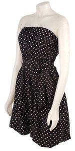 BCBGMAXAZRIA Strapless Polka Dot Silk Polyester Sash Lined Knee Length Formal Dress