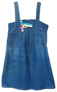 Tsumori Chisato short dress Denim Blue Distressed Japanese Patches Jumper Romper on Tradesy