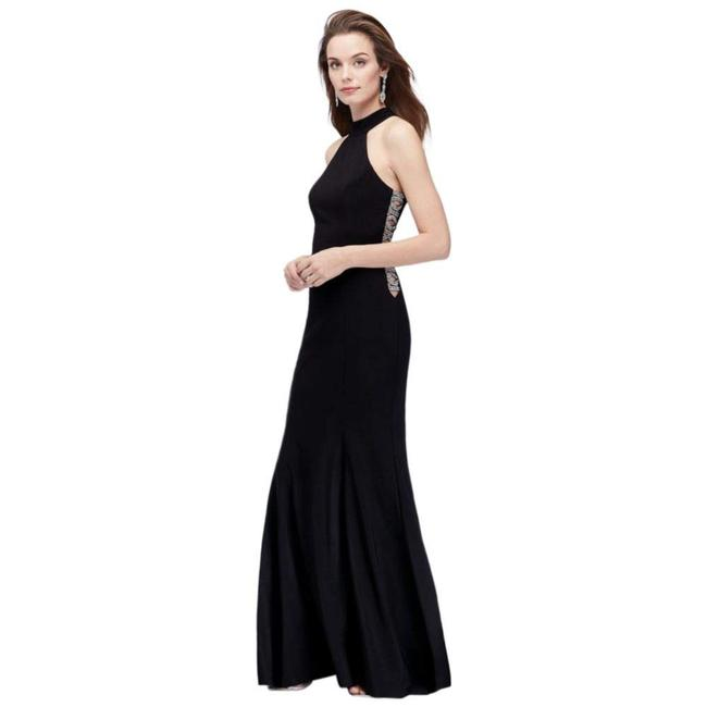 Item - Black High-neck Embellished Cutouts Gown Long Formal Dress Size 10 (M)