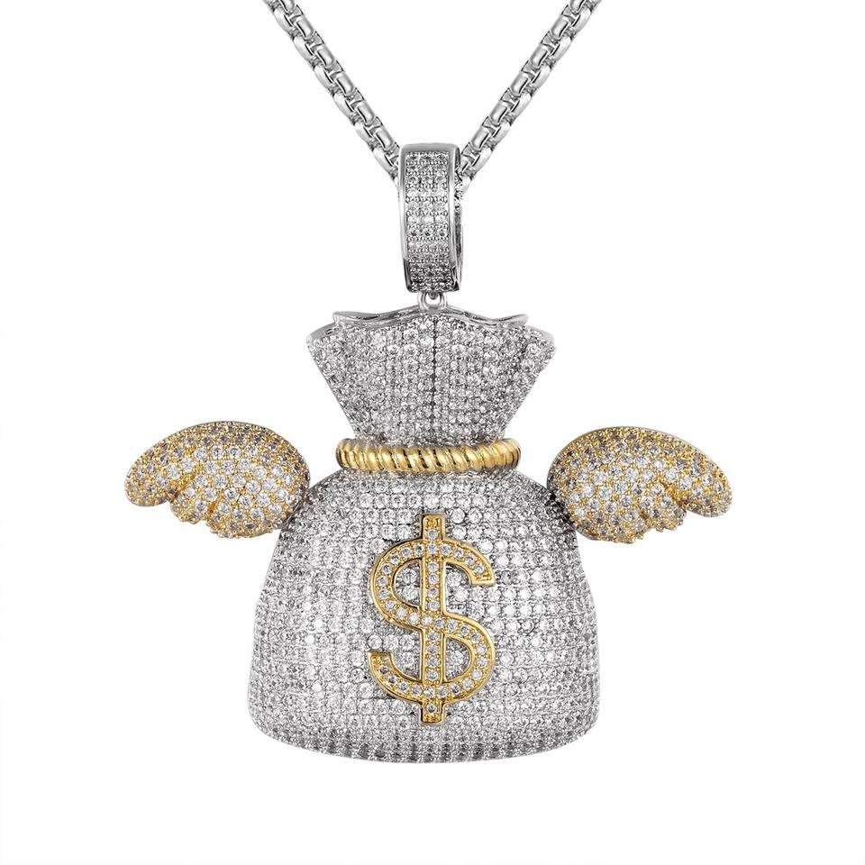 Master Of Bling Mens Gold Finish Dollar Money Bag Wings Custom Pendant  Steel Chain Necklace 73% off retail