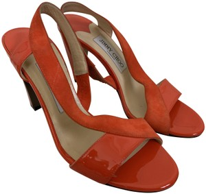 Jimmy Choo Patent Leather Suede Slingback Sandals Red Orange Pumps