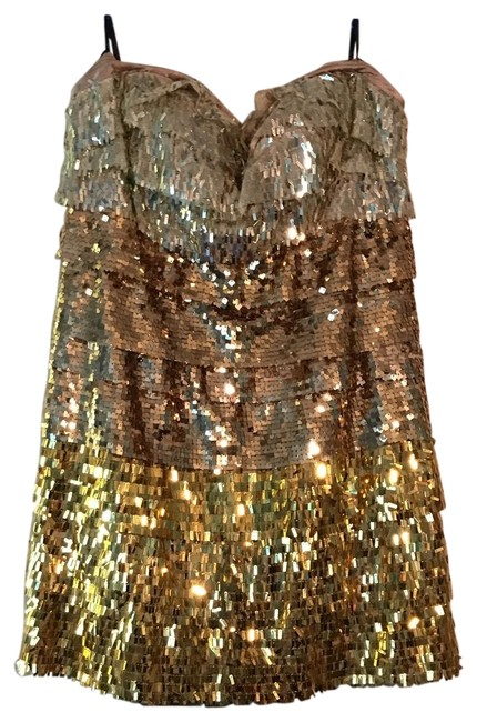 Item - Gold Sexy Mid-length Cocktail Dress Size 4 (S)