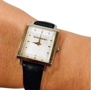 Burberry Check Black Leather Band Watch Silver