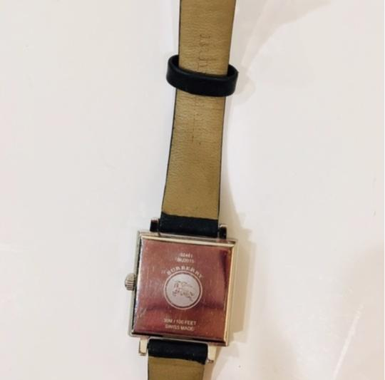 Burberry Check Black Leather Band Watch Silver Image 4