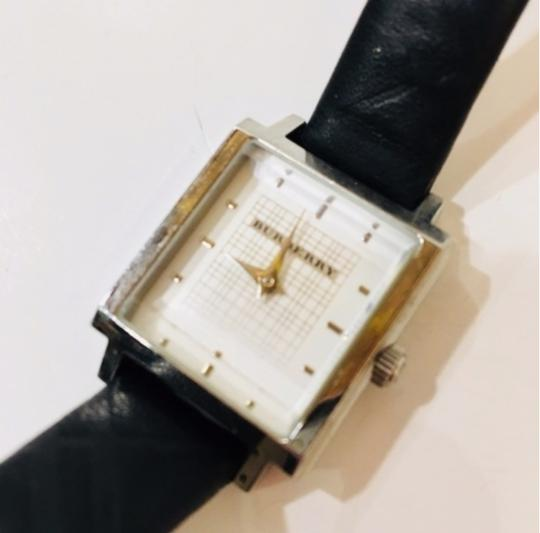 Burberry Check Black Leather Band Watch Silver Image 5