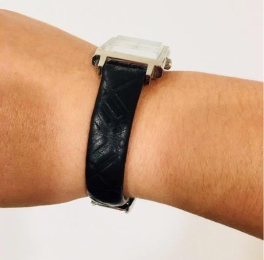 Burberry Check Black Leather Band Watch Silver Image 6