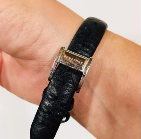 Burberry Check Black Leather Band Watch Silver Image 7