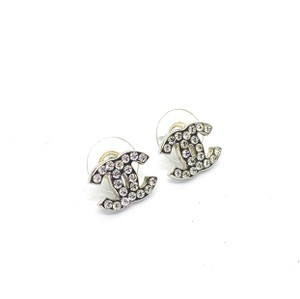 Chanel Small Silver CC Crystals Classic Studs Earrings