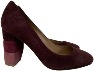 Salvatore Ferragamo Suede Leather Chunky Heel Purple Pumps