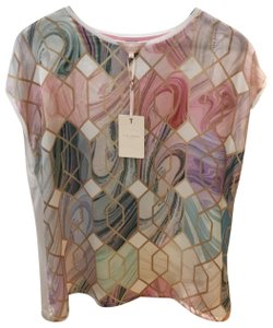 Ted Baker T Shirt White with Pink, Lavender, Blue, Green & Gold/Beige