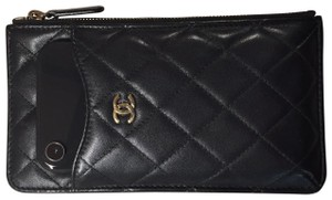 Chanel Quilted Clutch Wallet Phone iPhone Card Holder Lambskin Leather 25-series CC GHW