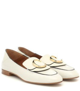 Chloé Calfskin Monogram Leather Convertable White Flats