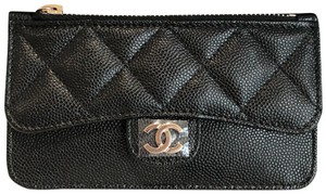 Chanel NEW Chanel Grained Calfskin Caviar Classic Card Holder Gold Metal 19B