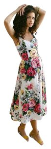Anthropologie Sleeveless Floral Fit And Flare Dress