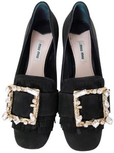 Miu Miu Embellished Crystal Black Pumps