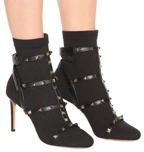 Valentino Strappy Studs Dominatrix Caged Sexy black Boots