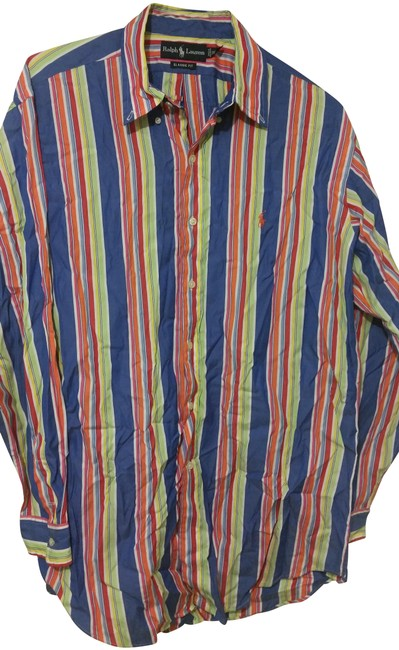 Item - Orange Blue Stripes Dress Shirt Button-down Top Size 12 (L)
