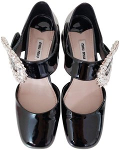 Miu Miu Crystal Patent Leather Black Pumps