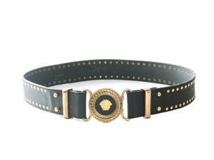 Versace Authentic Gianni Versace Medusa studded leather vintage hook belt