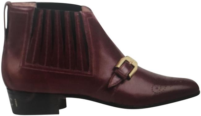 Item - Bordeaux Worsh Leather Buckle Ankle Women's Boots/Booties Size US 10 Regular (M, B)