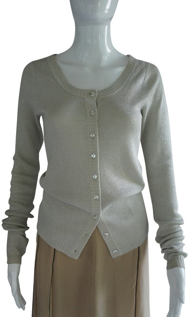 Item - Silver Metallic Silk Knit with Button Front Closure Cardigan Size 10 (M)