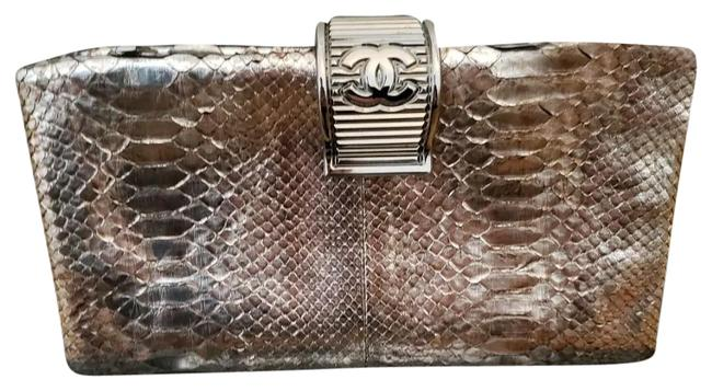 Item - Handbag Limited Edition Gold Colors Silver Python Skin Leather Clutch