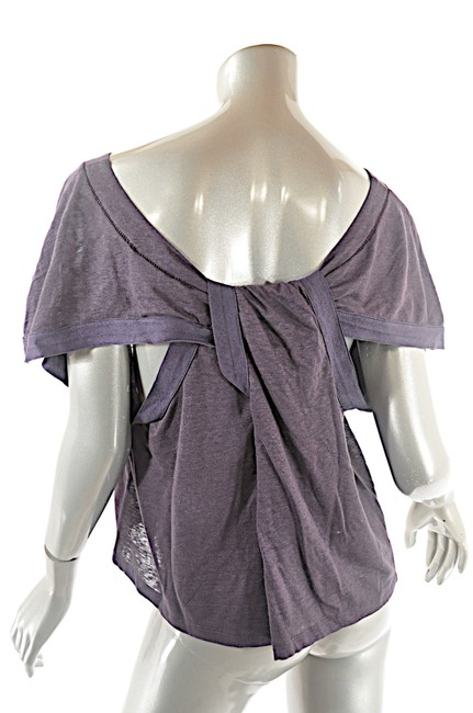 Item - Muted Linen Knit Ss Relaxed Tee with Fun Cutout Rear Detail Plum Sweater