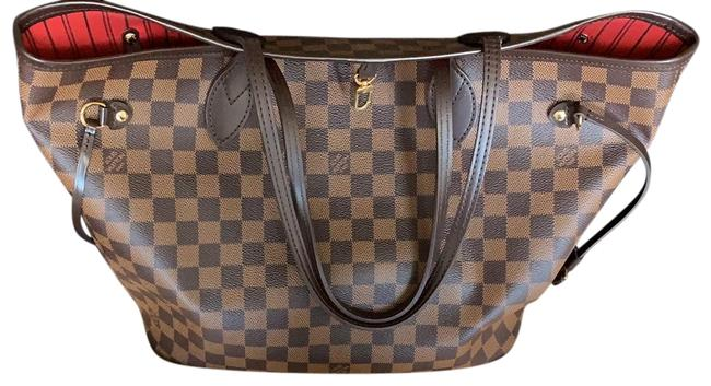 Item - Neverfull Mm Damier Brown Lambskin Leather Tote