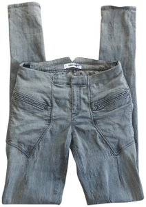 Helmut Lang Moto Jeggings Twill Distressed Skinny Jeans-Distressed