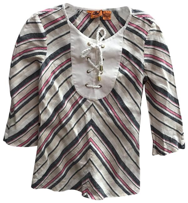 Item - Multicolor Printed Linen Tunic Blouse Size 4 (S)