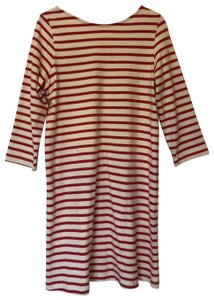 Amour Vert short dress cream and red Sustainable Longsleeve Knit Sundress Striped on Tradesy