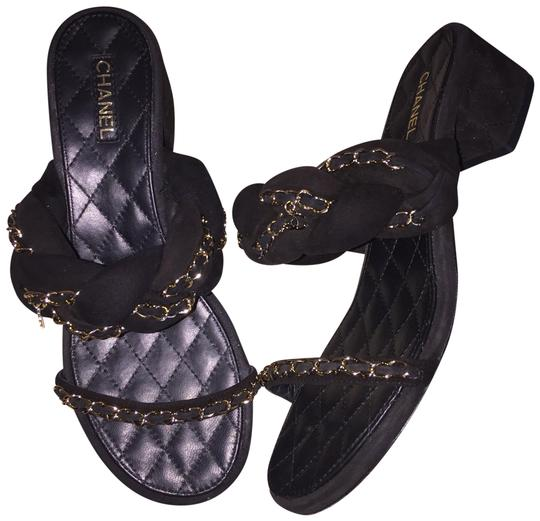 Preload https://img-static.tradesy.com/item/25843506/chanel-black-braided-chain-strap-17p-suede-quilted-leather-cc-mules-sandals-size-eu-395-approx-us-95-0-1-540-540.jpg