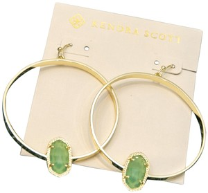Kendra Scott Kendra Scott Elora Gold Hoop Earrings In Chalcedony Glass