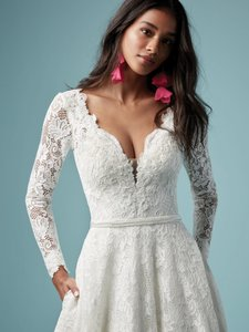 Sottero and Midgley Ivory Lace Terry Modern Wedding Dress Size 12 (L)