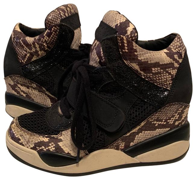 Item - Black and Beige Mesh Heeled Leather Python-print Sneakers Size US 8 Regular (M, B)