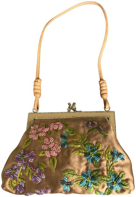 Item - Embroidered with A Glass Beaded Tan Satin Baguette