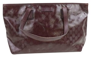 Gucci Nylon Patent Leather Leather Canvas Tote in Dark Red, Bordeaux