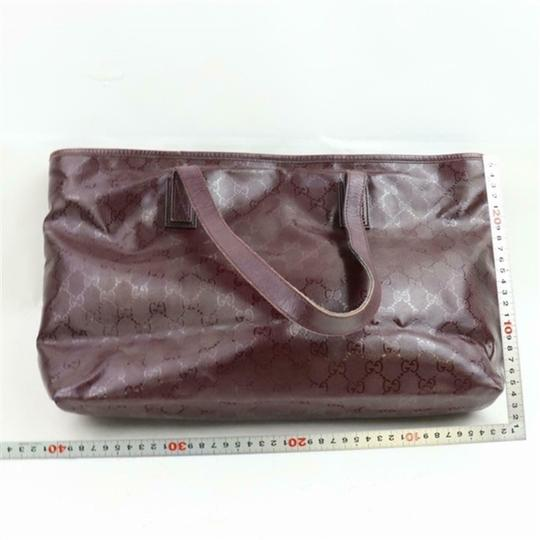 Gucci Nylon Patent Leather Leather Canvas Tote in Dark Red, Bordeaux Image 1